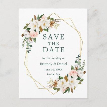 Magnolias Roses Gold Green Save The Date Announcement