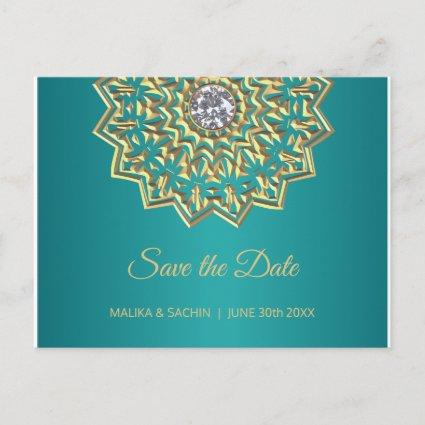 Mandala Indian Teal Blue Wedding SAVE THE DATE Announcement