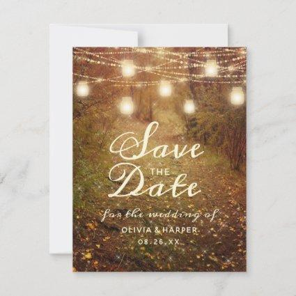 Maple Grove String Light Rustic Boho Save the Date