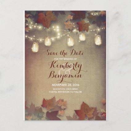 Maple Leaves and Mason Jars Fall Save the Date Announcement