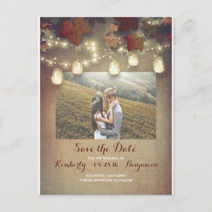 Maple Leaves Mason Jars Fall Photo Save the Date Announcement