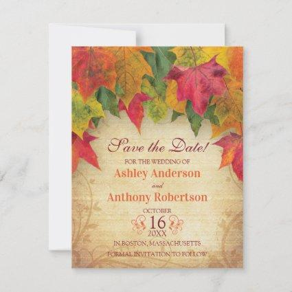 Maple Leaves Wedding Save the Date Fall Autumn