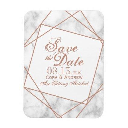 Marble and Faux Rose Gold Save the Date Magnet