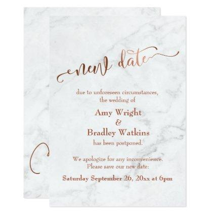 "Marble Copper Postponed Wedding ""New Date"" Invitation"