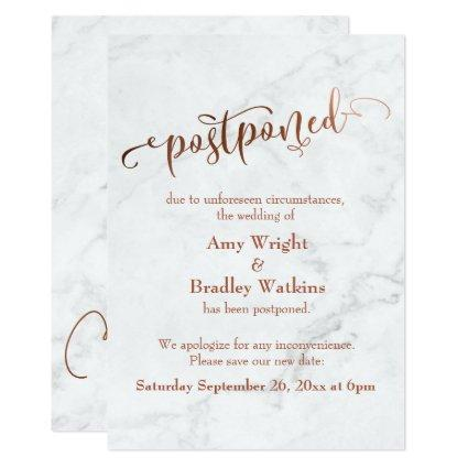 Marble Copper Typography Postponed Wedding Invitation