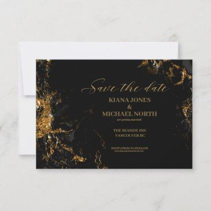 Marble Glitter Wedding Black Gold ID644 Save The Date