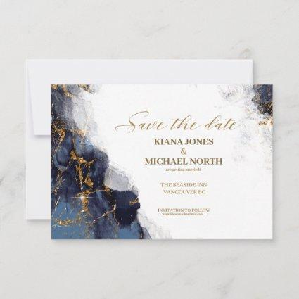 Marble Glitter Wedding Navy Blue Gold ID644 Save The Date