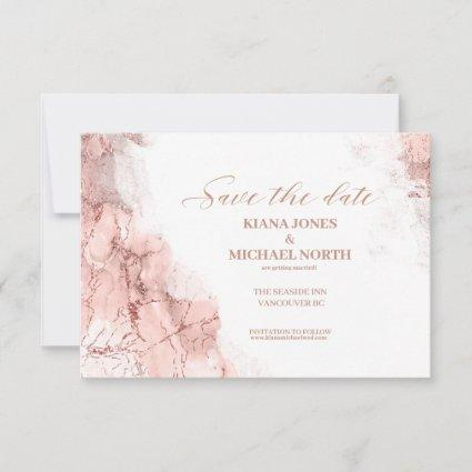 Marble Glitter Wedding Rose Gold ID644 Save The Date
