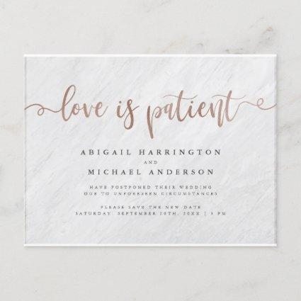 Marble & Rose Gold Calligraphy Love Is Patient Invitation