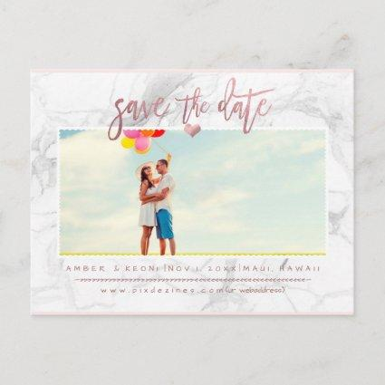 Marble Save the Date/Faux Rose Gold Script Announcements Cards