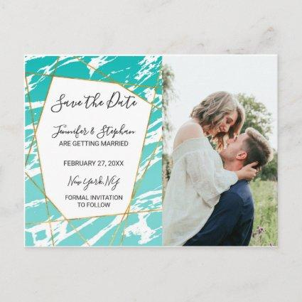Marble Seafoam Teal Gold Geometric Save the Dates Announcement