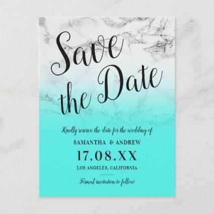 marble turquoise ombre wedding save the date announcement