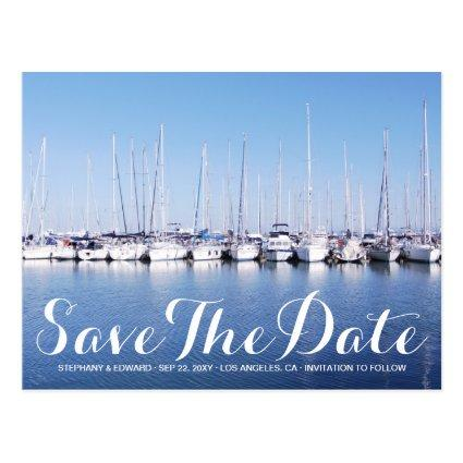 Marina Boats Blue Nautical Save The Date Cards