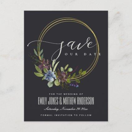 MAROON BLACK BLOOM FOLIAGE WREATH SAVE THE DATE ANNOUNCEMENT