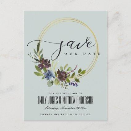 MAROON GREY BLOOM FOLIAGE WREATH SAVE THE DATE ANNOUNCEMENT
