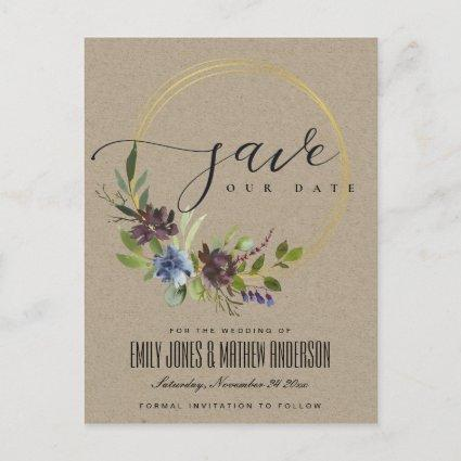 MAROON KRAFT BLOOM FOLIAGE WREATH SAVE THE DATE ANNOUNCEMENT