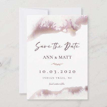 Maroon Marble Watercolor Save the Date