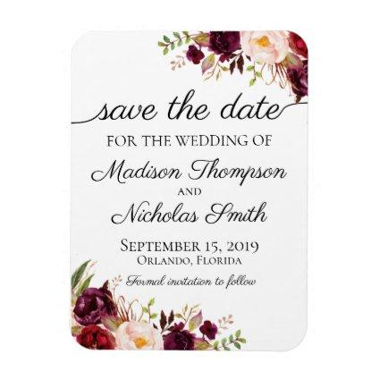Marsala and Pink Floral Save the Date Magnets