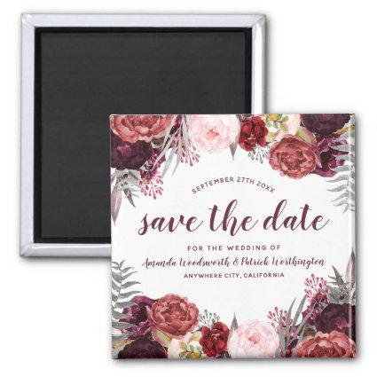 Marsala Peony Fall Wedding  Magnets