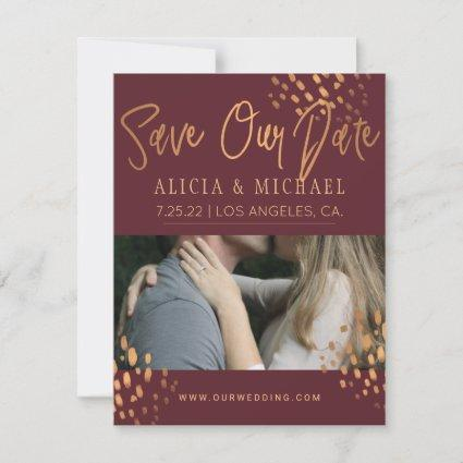 Marsala PHOTO Faux Metal Gold Foil Typography Save The Date