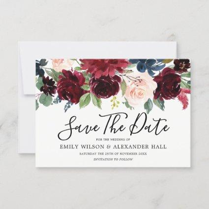 Marsala Red Wine Burgundy Flowers Wedding Save The Date