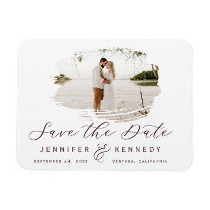 Marsala Wine Romantic Brushed Frame Save The Date Magnet