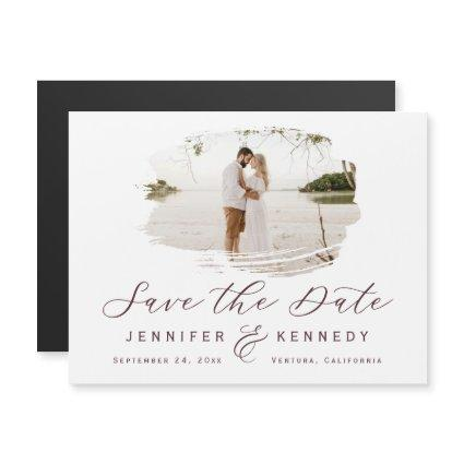 Marsala Wine Romantic Brushed Frame Save The Date Magnetic Invitation