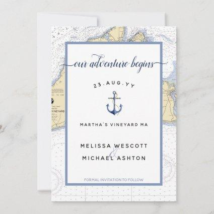 Martha's Vineyard Authentic Nautical Wedding Save The Date