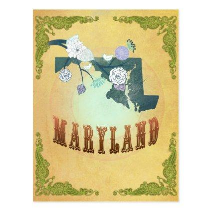 Maryland Map With Lovely Birds Cards
