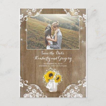 Mason Jar and Sunflower Rustic Photo Save the Date Announcements Cards