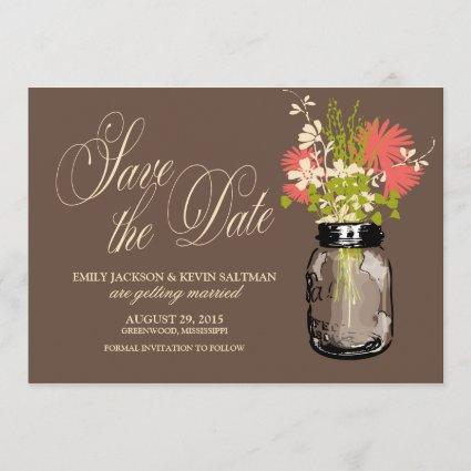 Mason Jar and Wildflowers Save the Date