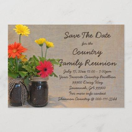 Mason Jar Daisy Family Reunion Save The Date