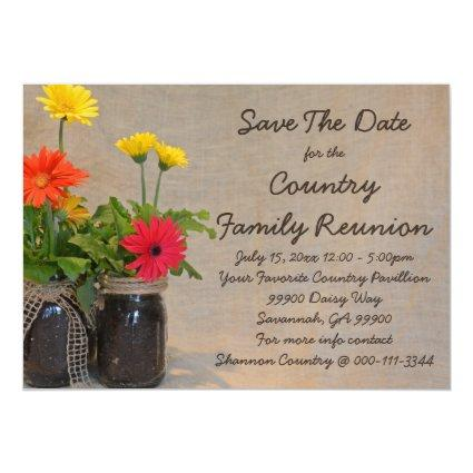 Mason Jar Daisy Family Reunion Save The Date Magnetic Invitation