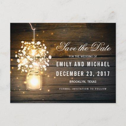 Mason Jar glowing Lights floral save the date Announcement