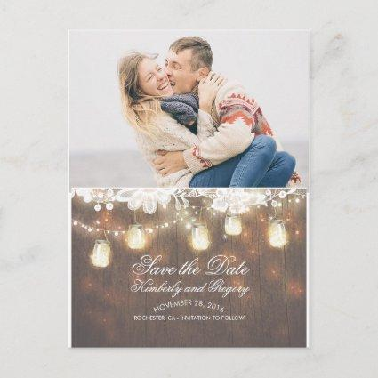 Mason Jar Lights Lace Rustic Photo Save the Date Announcement
