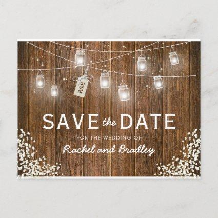 Mason Jar Lights Rustic Babys Breath Save the Date Announcement
