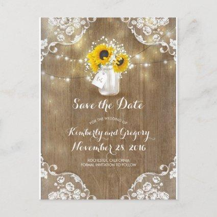 Mason Jar Sunflowers Bouquet Rustic Save the Date Announcement