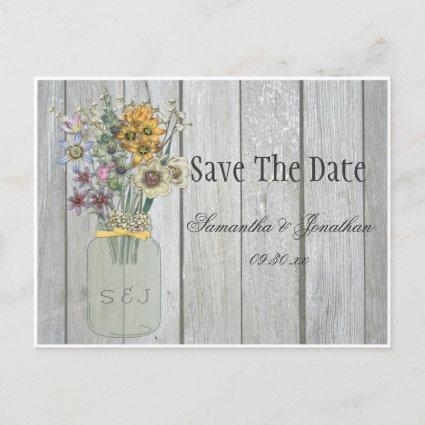 Mason Jar Wildflowers Barn Wood Save The Date Announcements