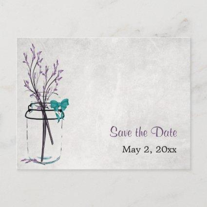 Mason Jar with Purple Branches - Save the Date Announcements Cards