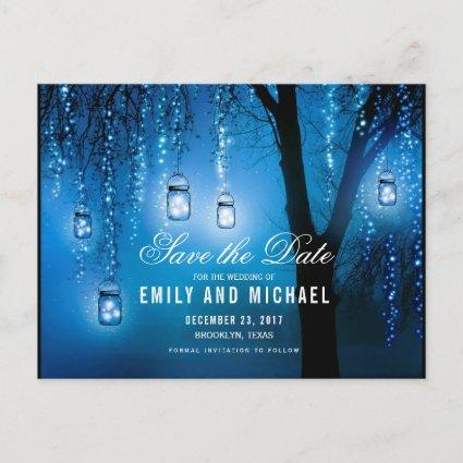 Mason Jars String Lights Elegant save the date Announcement