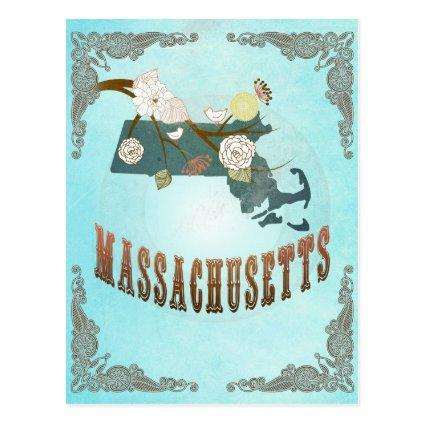 Massachusetts Map With Lovely Birds Cards