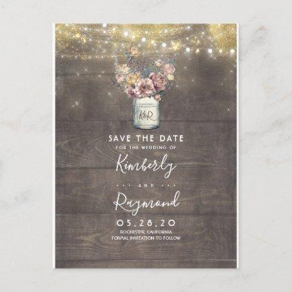 Mauve and Gold Floral Mason Jar Save the Date Announcement