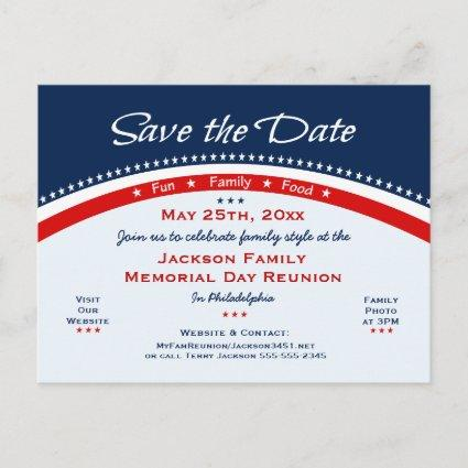 Memorial Day Family Reunion, Party, Save the Date Announcement