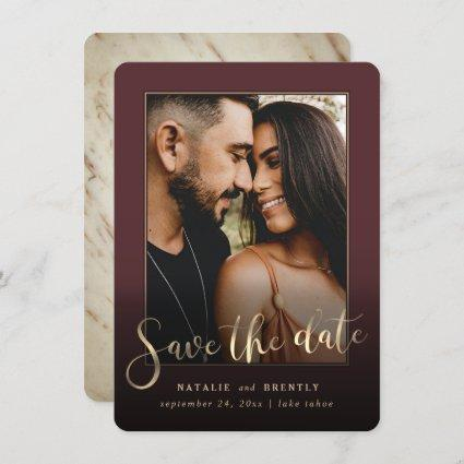 Merlot Wine Red Gold Script & Marble Photo Overlay Save The Date