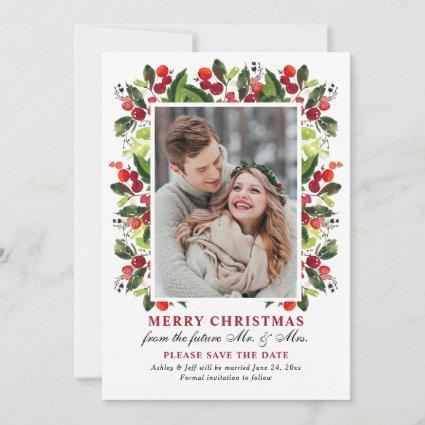 Merry Christmas Red Wedding Save the Date Photo Holiday Card