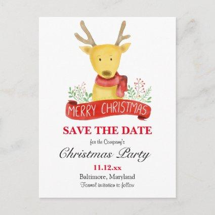 Merry Christmas Reindeer Watercolor Holiday Party Announcements Cards