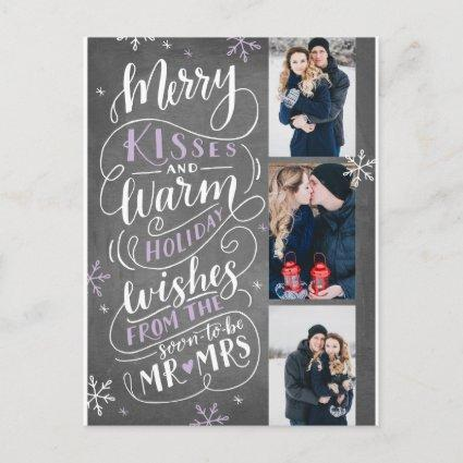 Merry Kisses Warm Holiday Wishes | Lilac Announcements Cards