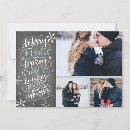 Merry Kisses Warm Wishes | Holiday | Blue  3-Photo Save The Date