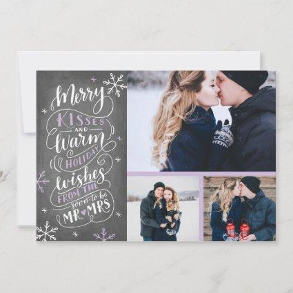 Merry Kisses Warm Wishes | Holiday | Lilac 3-Photo Save The Date