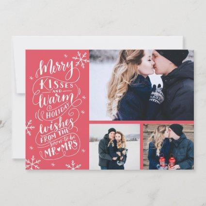Merry Kisses Warm Wishes | Holiday | Red| 3-Photo Save The Date